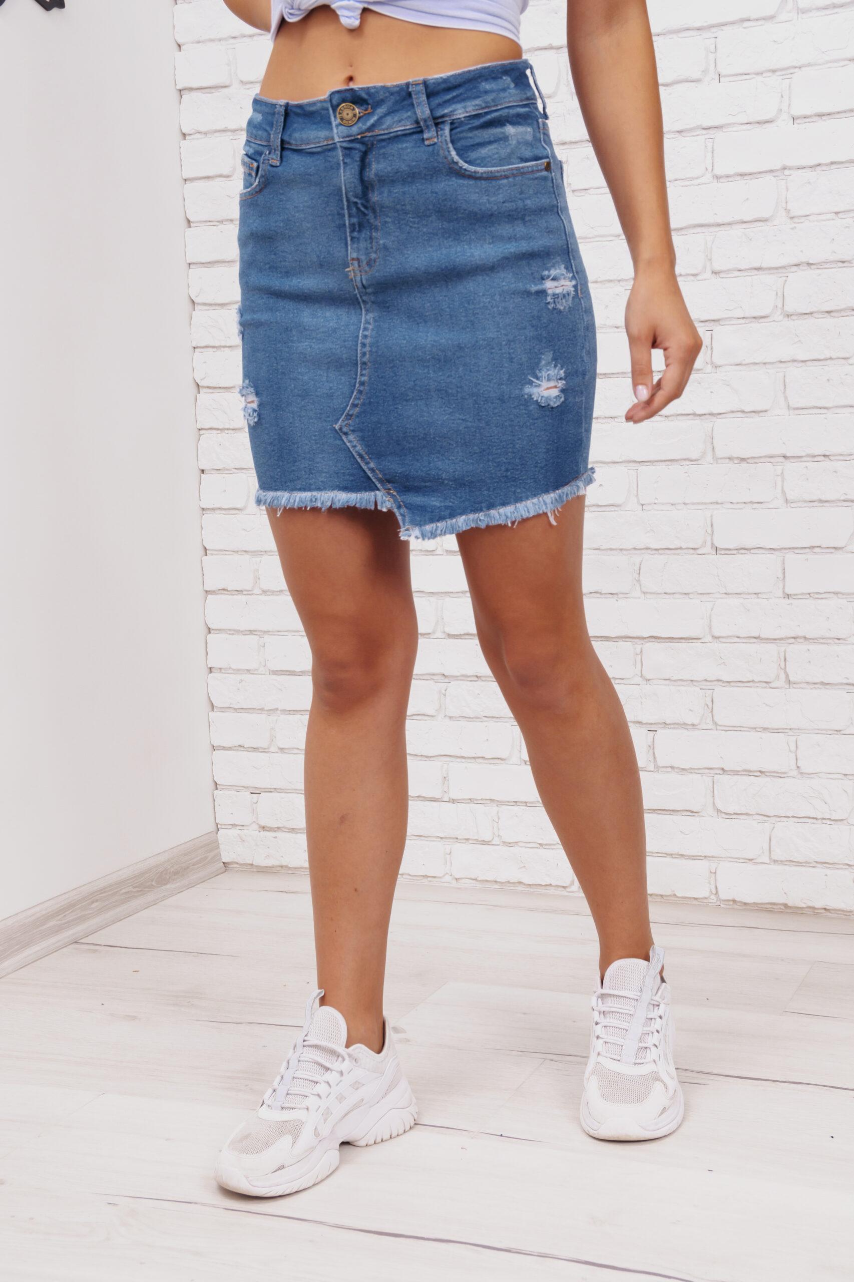 Женская синяя джинсовая юбка 604ETEK