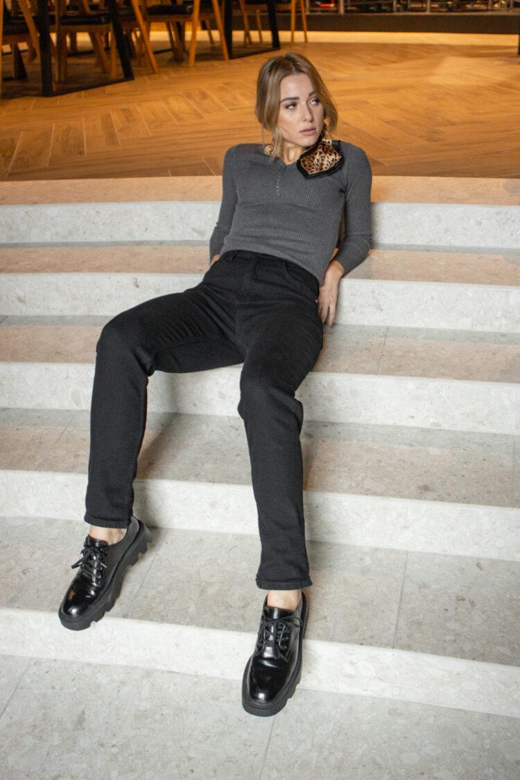 Чорные женские утепленные джинсы 1081