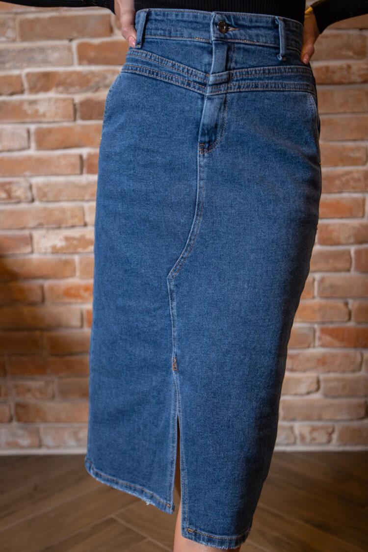 Джинсовая юбка длины миди 4238